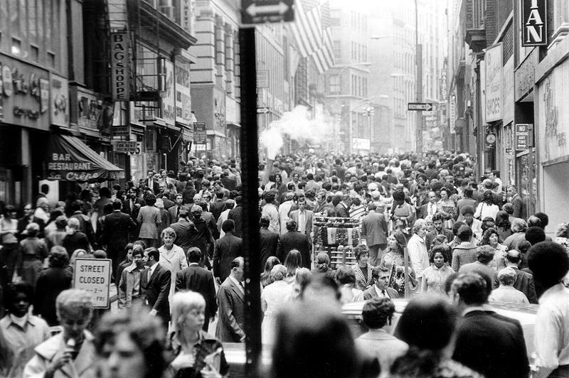 crowded street The crowded street : let me move slowly through the street, filled with an ever-shifting train, amid the sound of steps that beat : the murmuring walks like autumn rain.